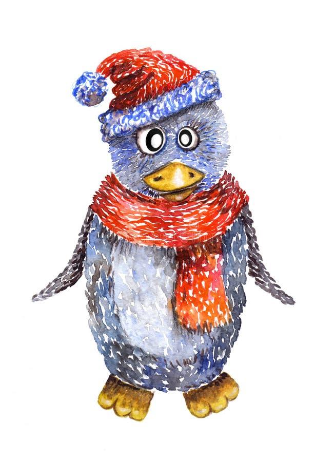 Pinguim desenhado à mão da aquarela ilustração royalty free