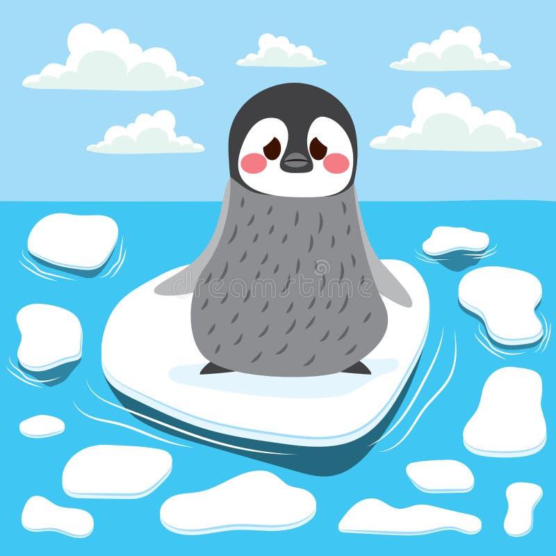Pinguim do aquecimento global ilustração royalty free