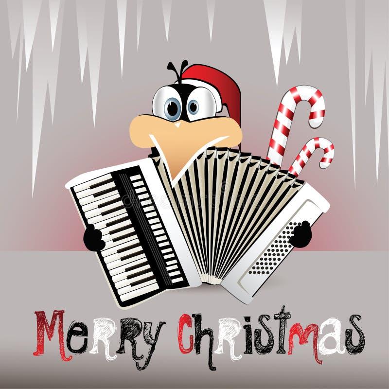 Pinguim do Feliz Natal que joga o acordeão ilustração royalty free