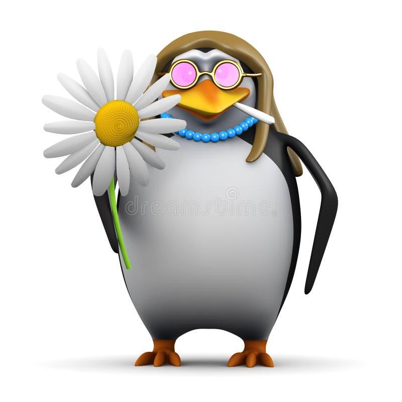 pinguim do hippy 3d com flor ilustração stock