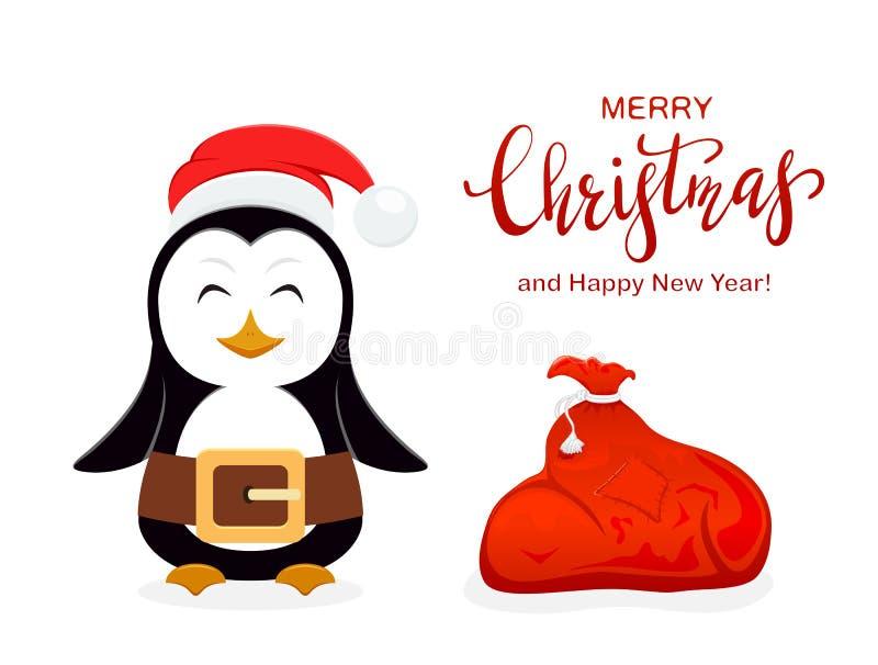 Pinguim do Natal com Santa Hat e o saco vermelho no fundo branco ilustração do vetor
