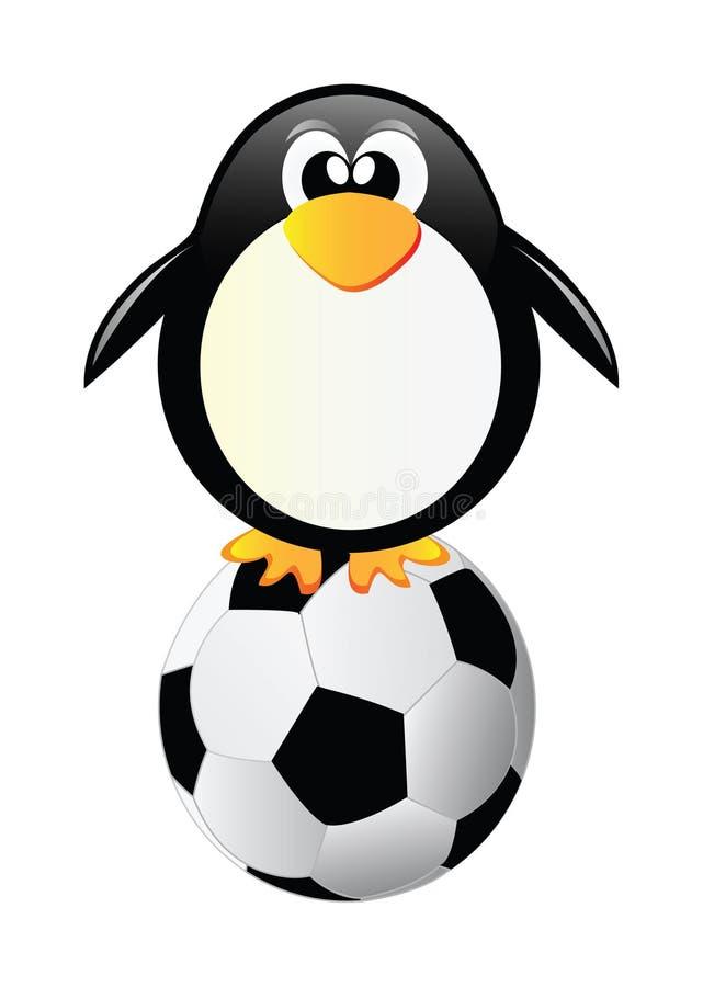 Pinguim do vetor com esfera de futebol ilustração stock
