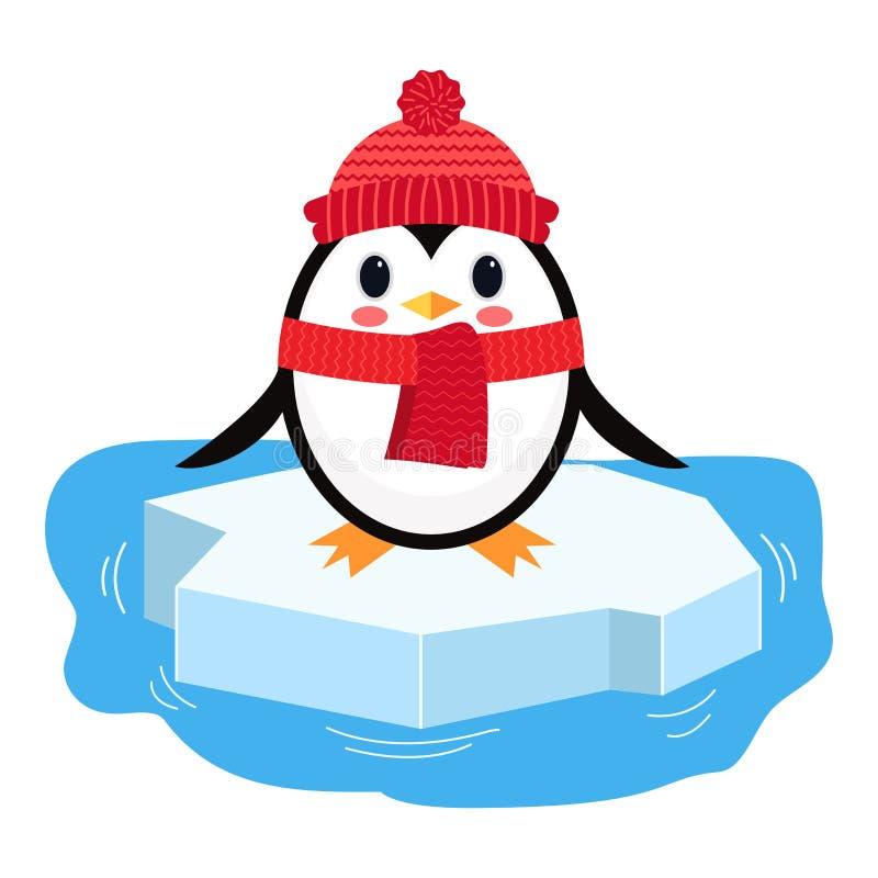 Pinguim dos desenhos animados no pedaço do gelo Ilustração do vetor isolada no fundo branco ilustração royalty free