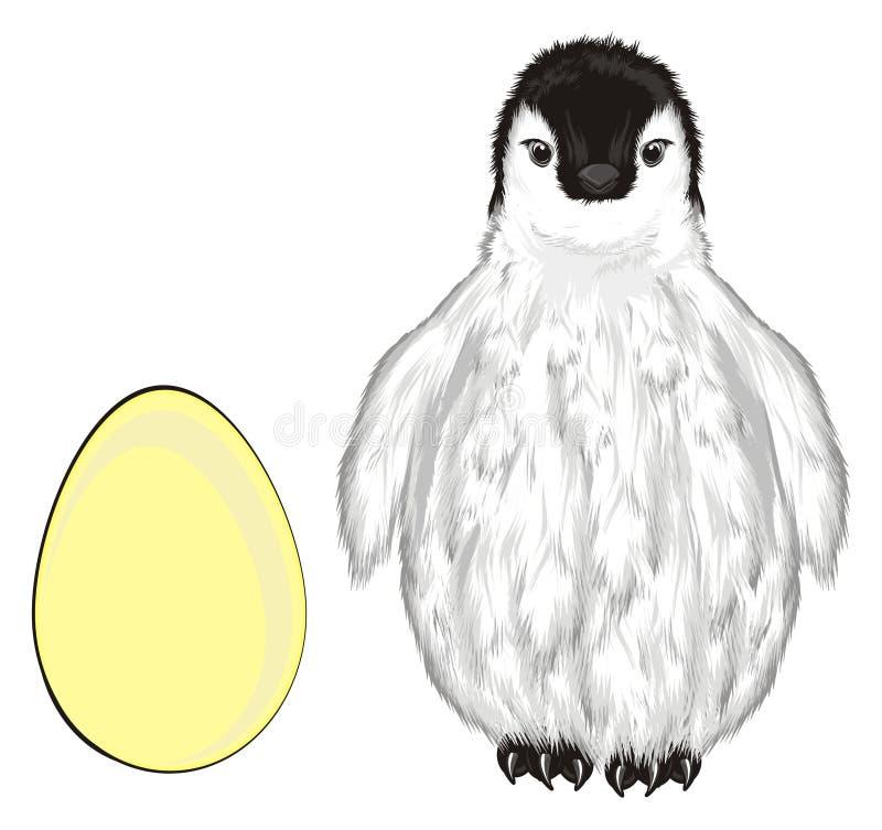 Pinguim e ovo ilustração do vetor