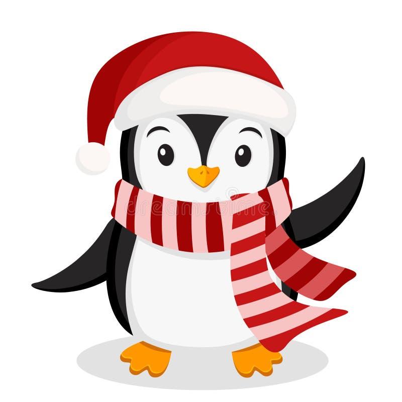 Pinguim em aletas de ondulação de um chapéu e do lenço em um branco ilustração royalty free