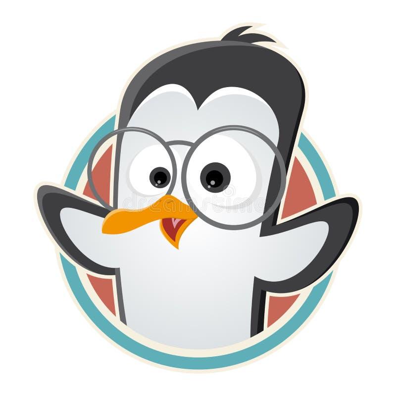 Pinguim engraçado dos desenhos animados com vidros em um crachá ilustração stock
