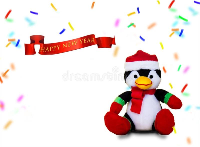 Pinguim feliz de ano novo com confetti foto de stock royalty free