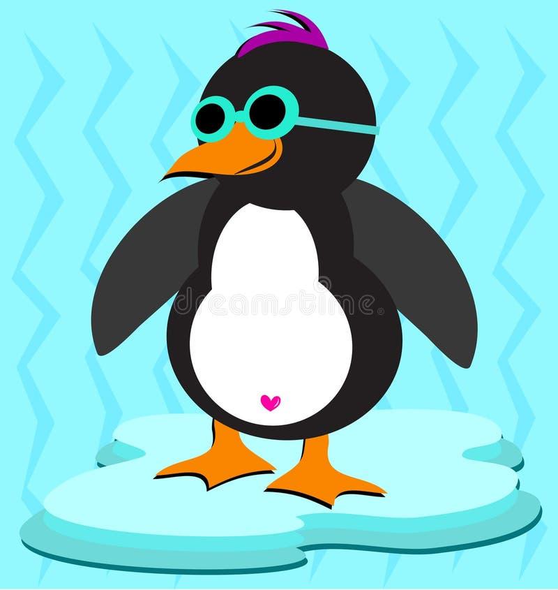 Pinguim fresco no gelo ilustração do vetor