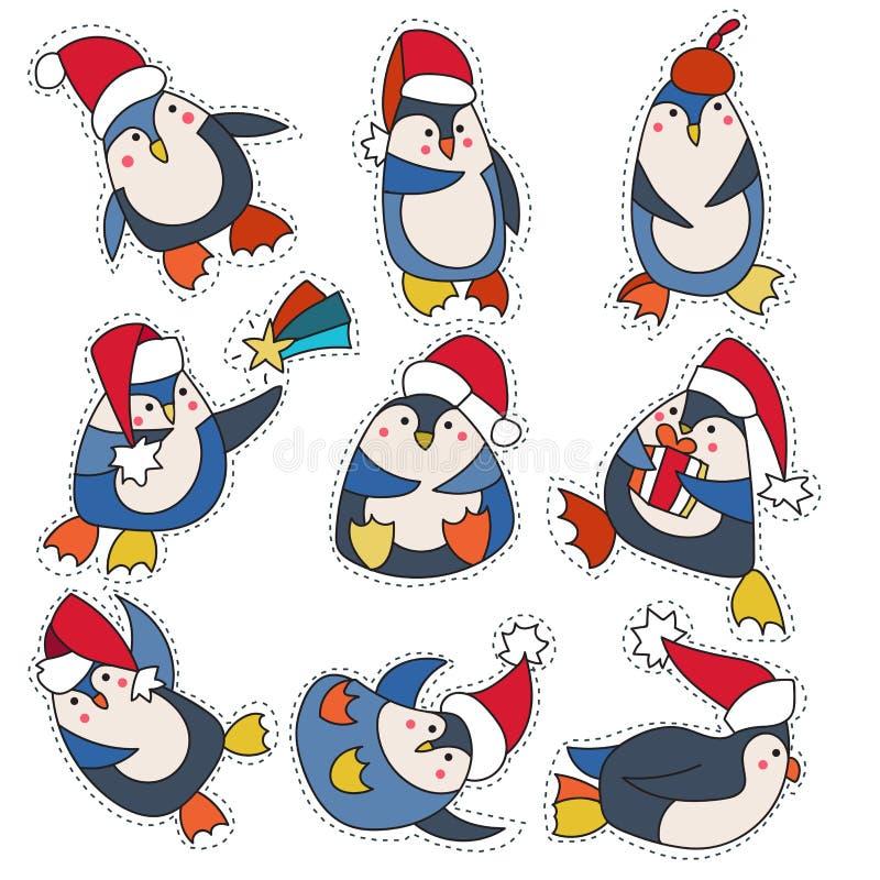 Pinguim na garatuja do chapéu do Natal ilustração stock