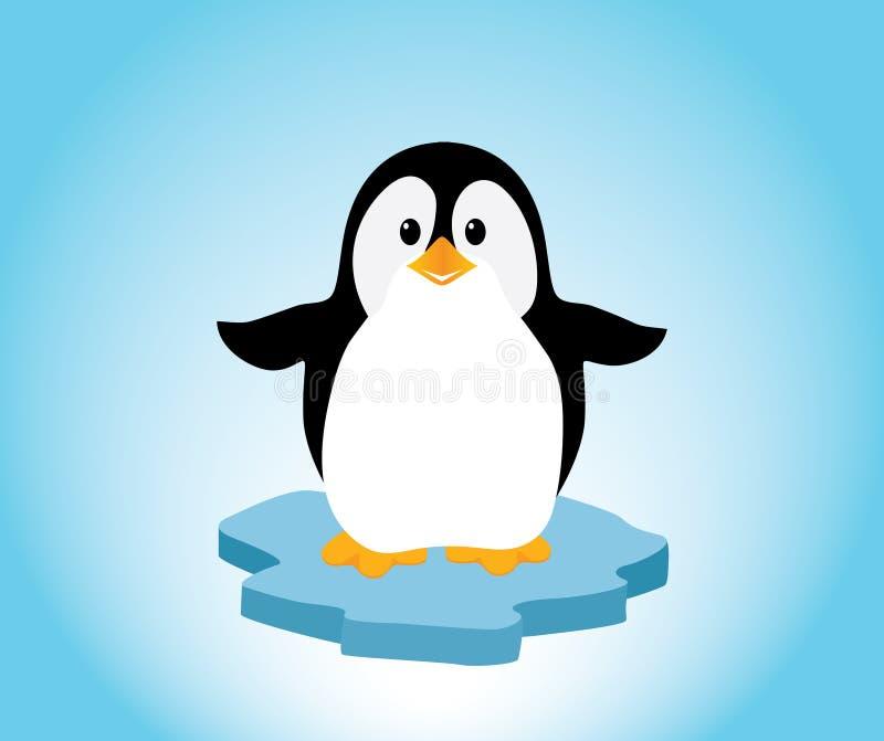 Pinguim no gelo ilustração royalty free