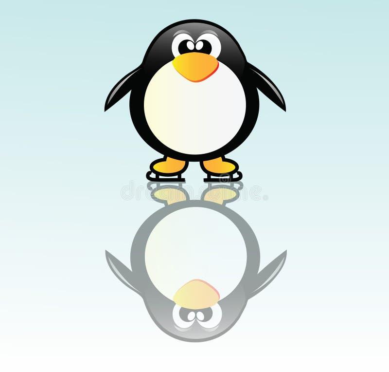 Pinguim no patim ilustração royalty free
