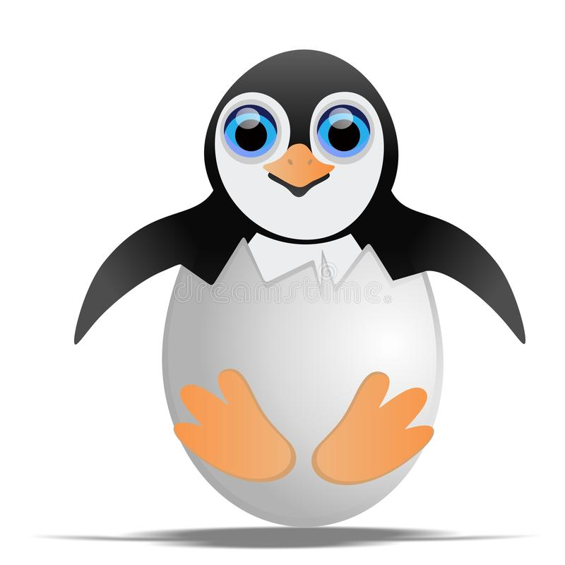 Pinguim no shell de ovo ilustração do vetor