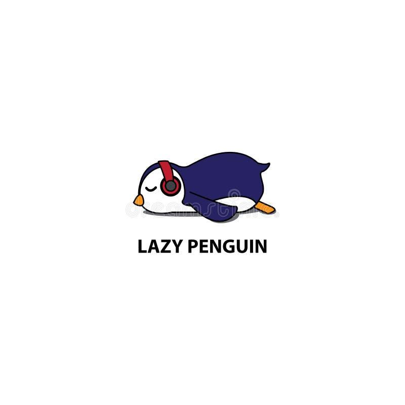 Pinguim preguiçoso, pinguim bonito que dorme com ícone dos fones de ouvido, projeto do logotipo ilustração stock