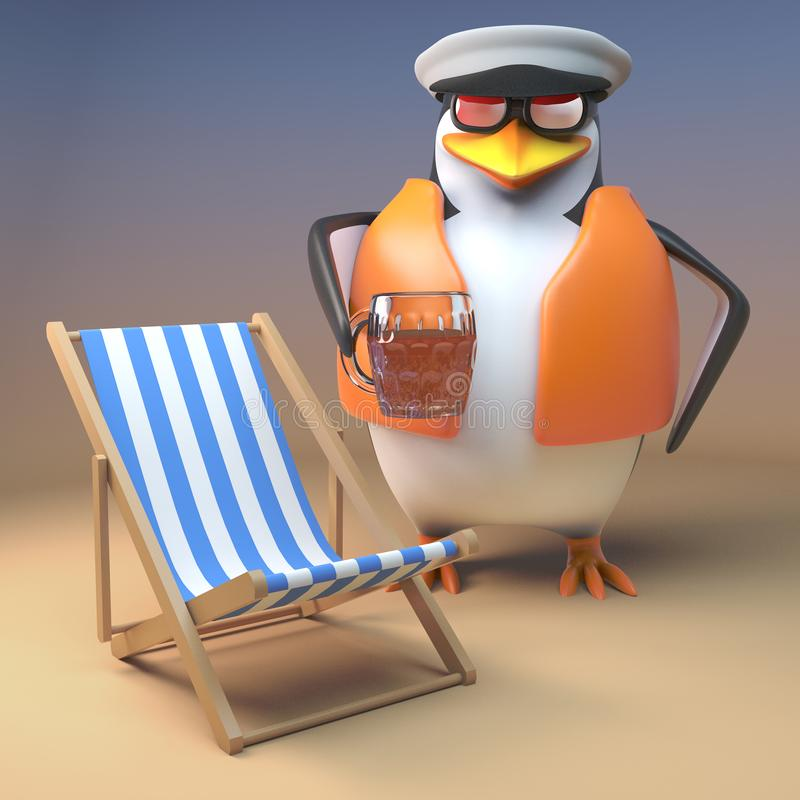 Pinguim que engraçado o marinheiro relaxa na praia com cadeira de plataforma e pinta da cerveja, do capitão dos desenhos animados ilustração do vetor