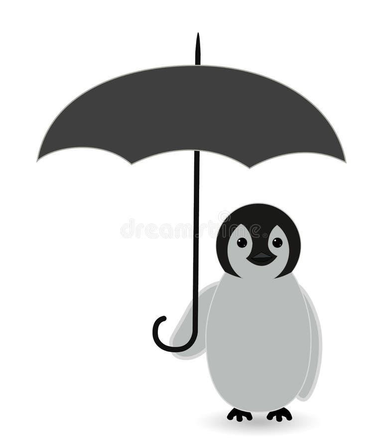 Pinguim sob a proteção do guarda-chuva ilustração royalty free