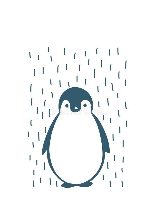 Pinguim tirado mão, ilustração do vetor fotografia de stock