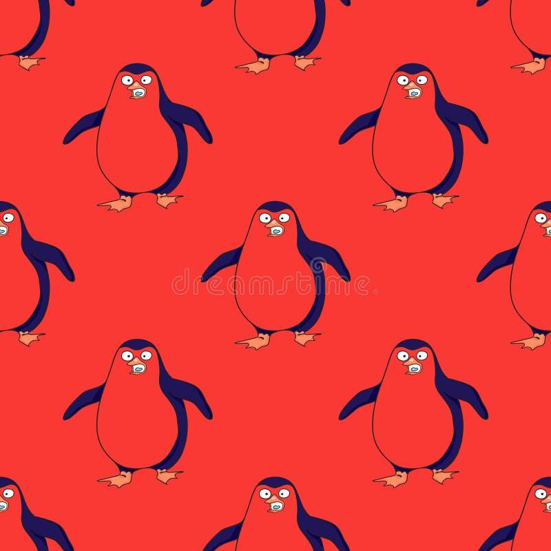 Pinguin走的无缝的样式 库存例证