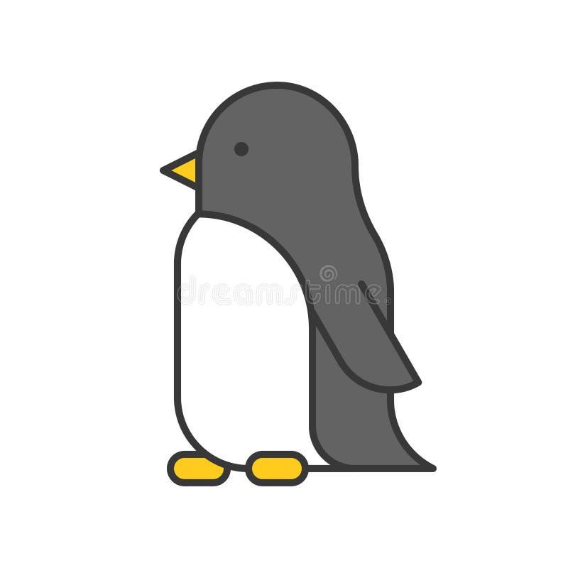 Pinguin, arktisches Tier im Zooikonensatz, füllte Entwurfsentwurf vektor abbildung