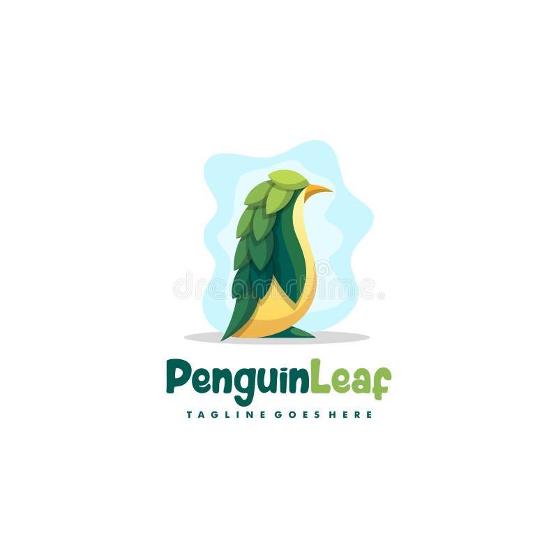 Pinguin-Blattillustrationsvektor Entwurfsschablone stock abbildung