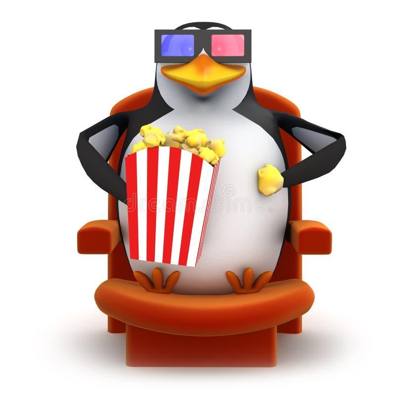 Pinguin 3d isst Popcorn, während, einen Film 3d aufpassend vektor abbildung