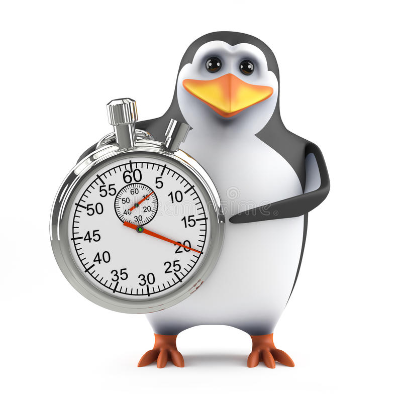 Pinguin 3d mit einer Stoppuhr stock abbildung
