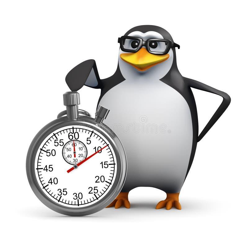 Pinguin 3d mit einer Stoppuhr vektor abbildung