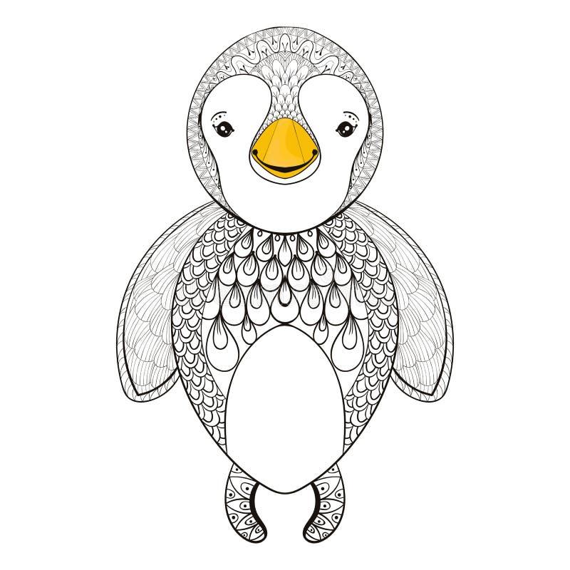 Pinguin de vecteur pour la page adulte de coloration Pinguin mignon tiré par la main illustration stock