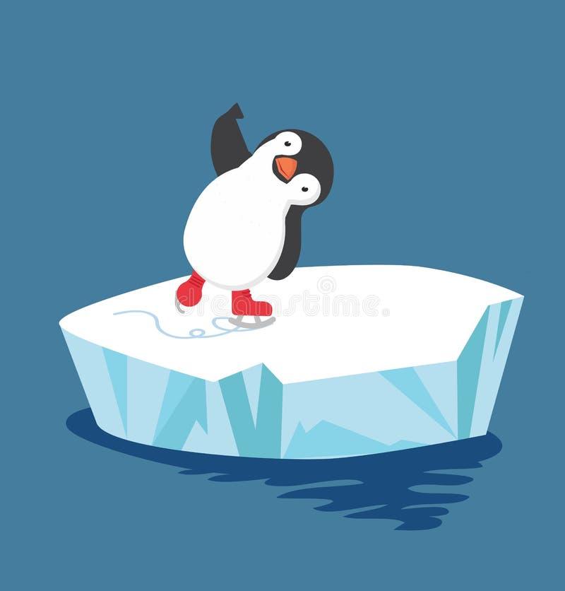 Pinguin, der Eislauf auf Eisscholle tut lizenzfreie abbildung