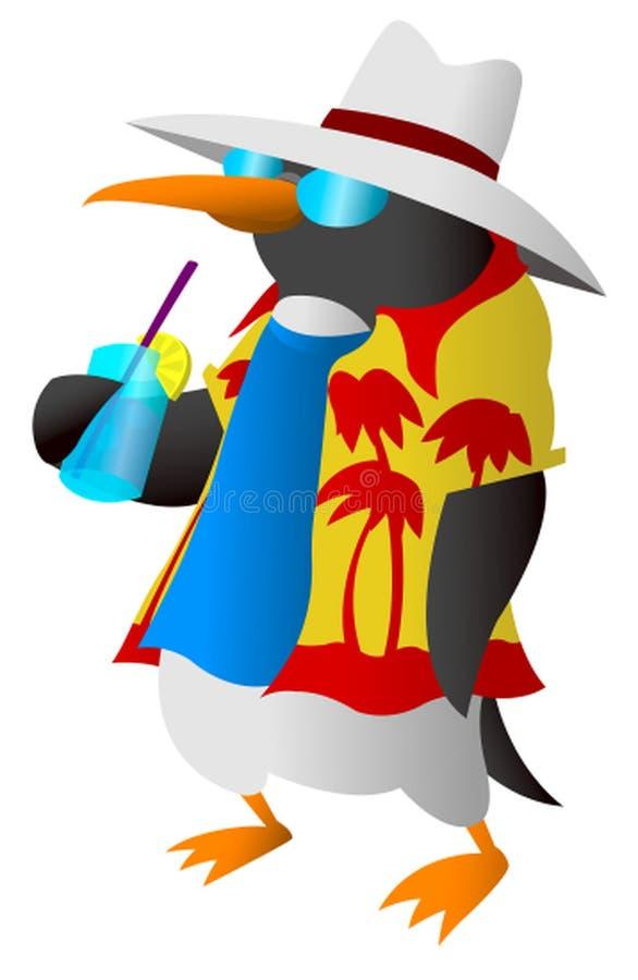 Pinguin in der Sommerkleidung ein Getränk genießend lizenzfreie abbildung