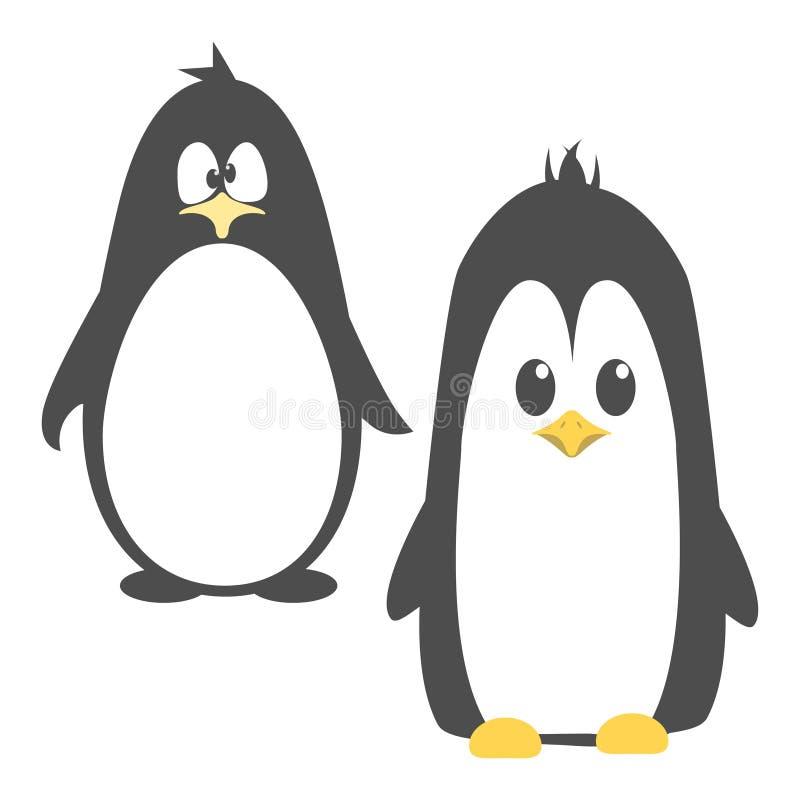 Pinguin fâché mignon abstrait de bande dessinée d'isolement sur un fond bleu Image drôle de pingouin illustration stock