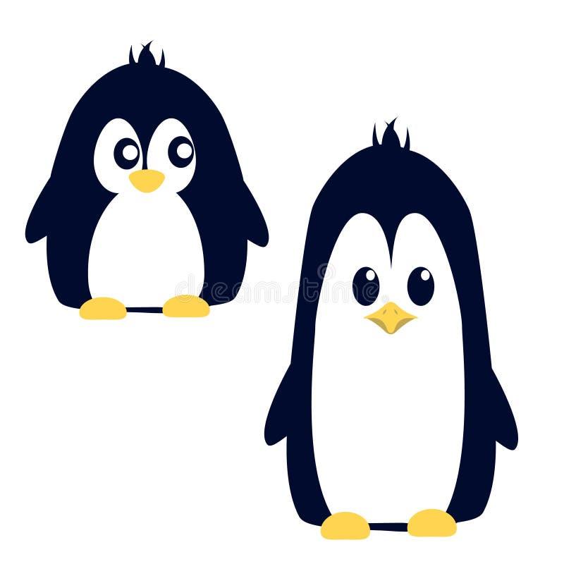 Pinguin fâché mignon abstrait de bande dessinée d'isolement sur un fond bleu Image drôle de pingouin illustration libre de droits
