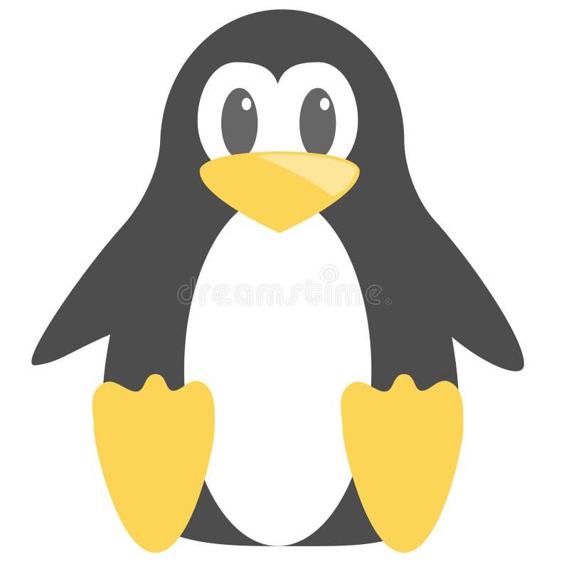 Pinguin fâché mignon abstrait de bande dessinée d'isolement sur un fond bleu Image drôle de pingouin de vecteur illustration stock
