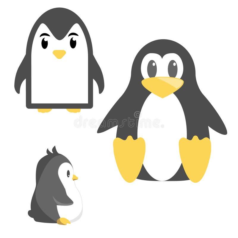 Pinguin fâché mignon abstrait de bande dessinée d'isolement sur un fond bleu Image drôle de pingouin de vecteur illustration libre de droits