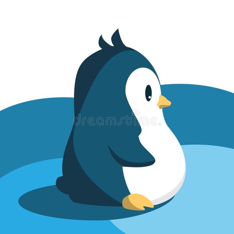 Pinguin fâché mignon abstrait de bande dessinée d'isolement sur un fond bleu Image drôle de pingouin illustration de vecteur