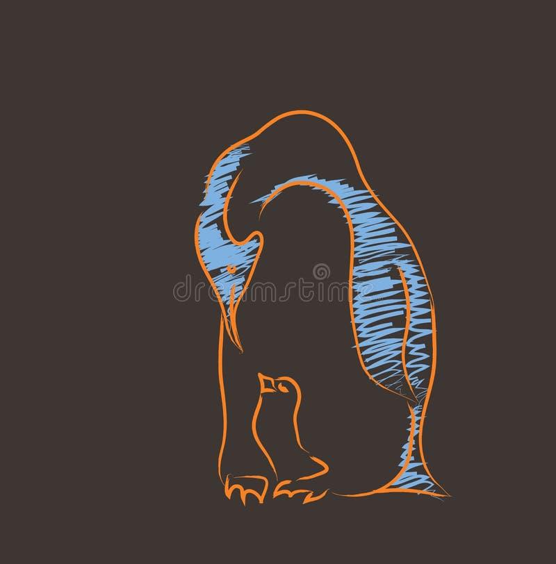 Pinguin met het kuiken vector illustratie