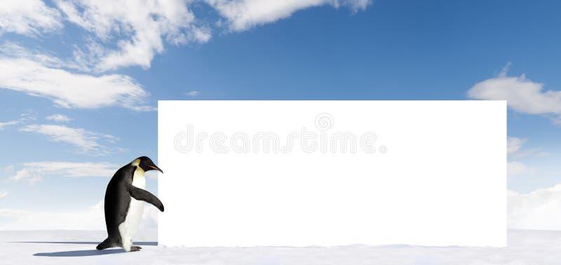 Pinguin mit Anschlagtafel stockfoto