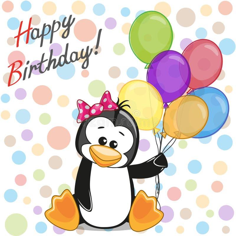 Pinguin mit Ballonen lizenzfreie abbildung
