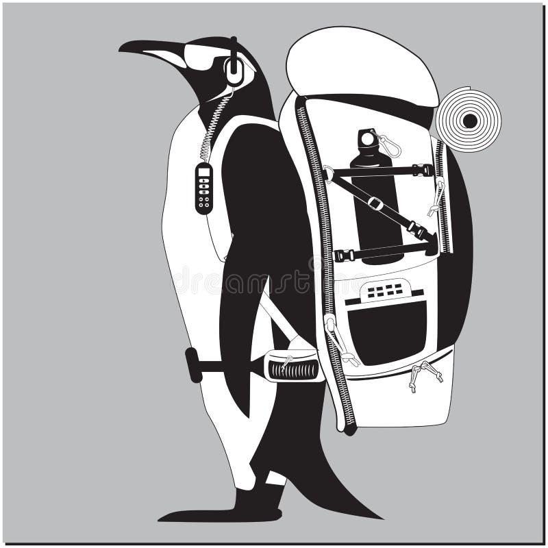 Pinguin mit Rucksack lizenzfreie abbildung