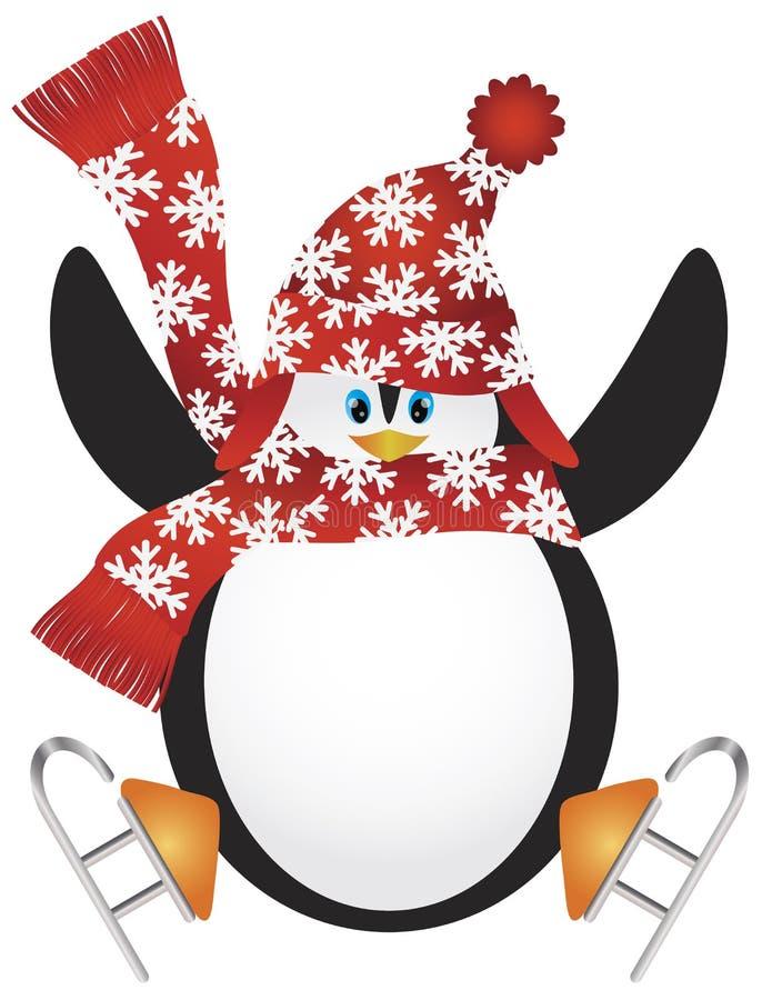Pinguin mit Sankt-Hut-Eis-Eislauf-Abbildung vektor abbildung