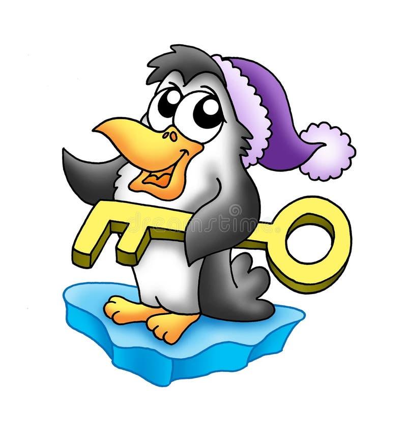 Pinguin mit Taste lizenzfreie abbildung