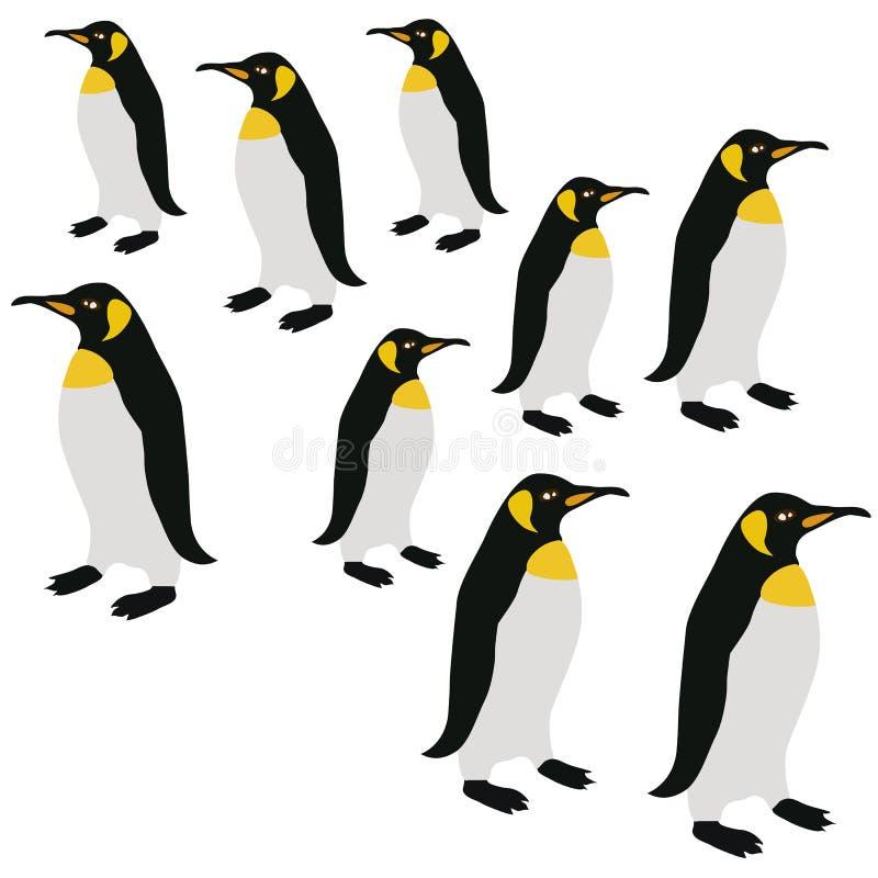 Pinguin-Oberflächen-Muster, Muster-Kaiser-Pinguine König-Penguins Winter Repeat für Textilentwurf, Gewebe-Drucken, Statio lizenzfreie abbildung