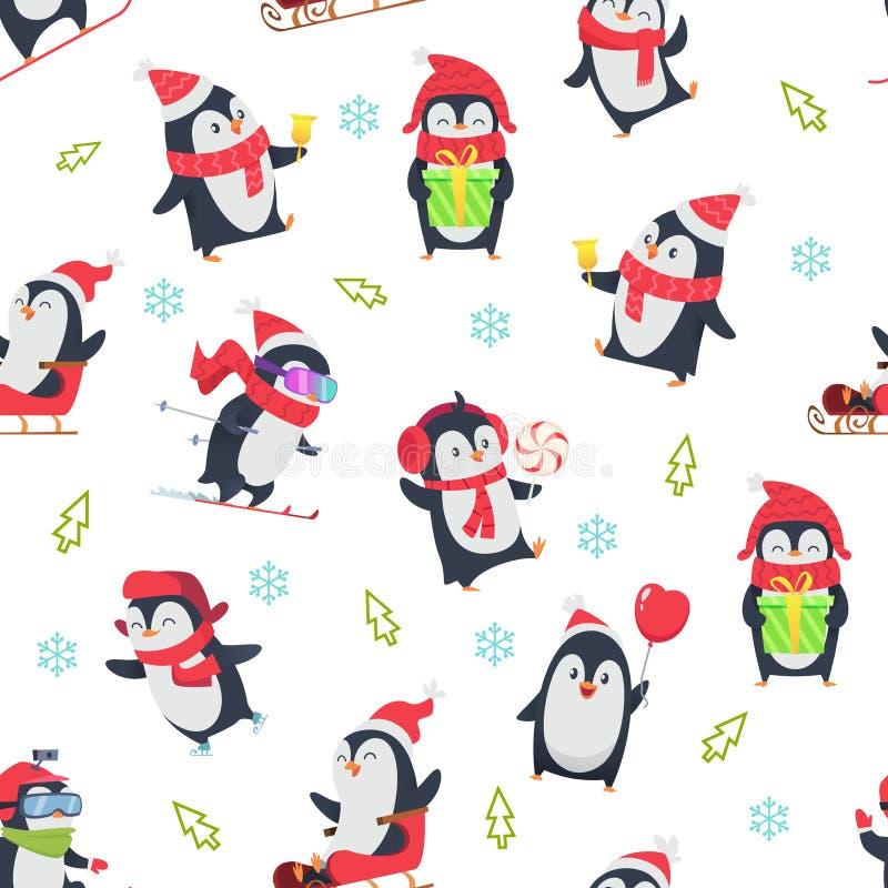 Pinguin sömlös modell Tecknad filmtextildesign med vektorillustrationen av det lösa gulliga djuret för vintersnö i olikt stock illustrationer