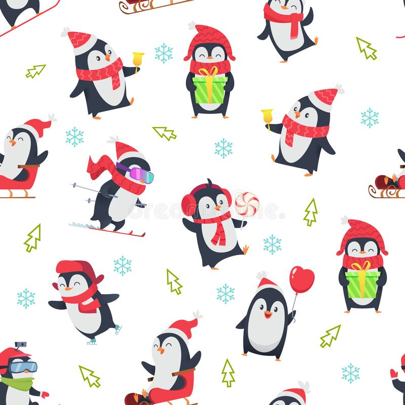 Pinguin seamless pattern. Cartoon textile design with vector illustration of winter snow wild cute animal in various stock illustration