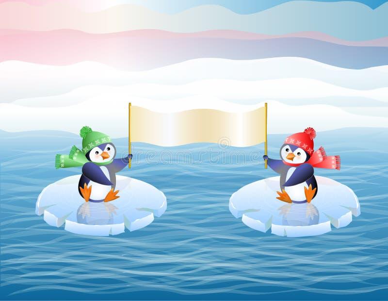 Pinguine auf Eis Floes. Zeigen Sie das Plakat. lizenzfreie abbildung