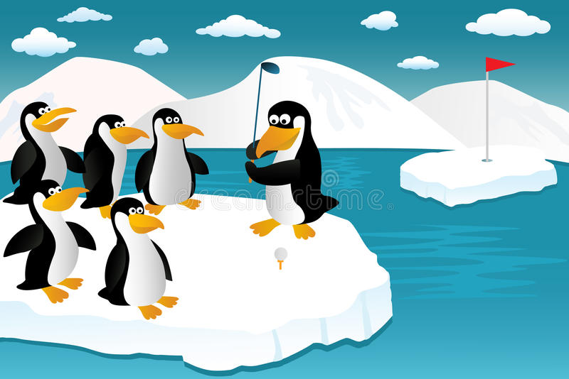 Pinguine und Golf vektor abbildung
