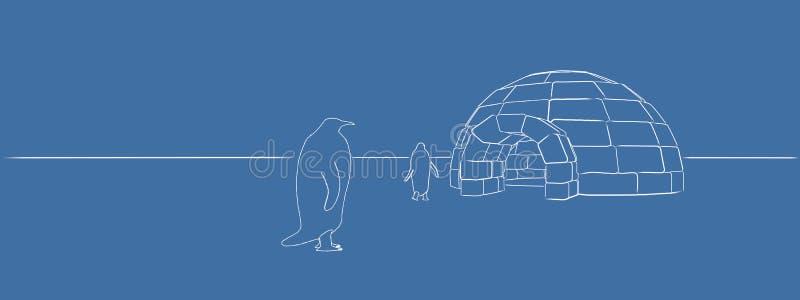 pinguini che escono da un iglù illustrazione vettoriale