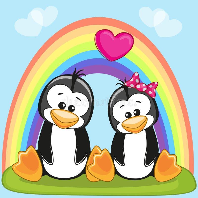 Pinguini degli amanti royalty illustrazione gratis