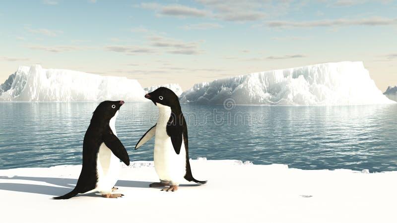 Pinguini del Adelie su un iceberg illustrazione di stock