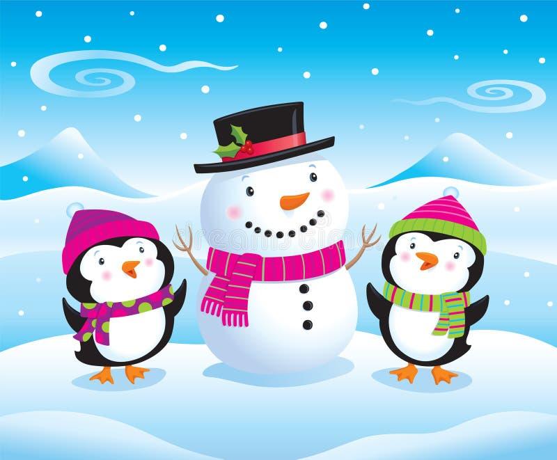 Pinguini del bambino accanto ad un pupazzo di neve sveglio royalty illustrazione gratis