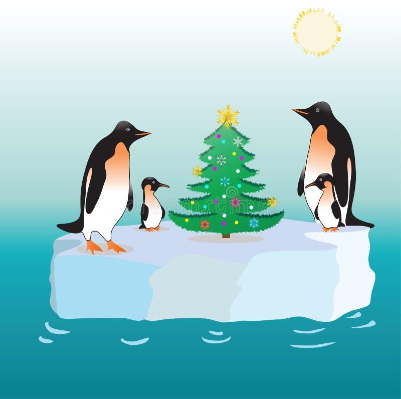 Pinguini e un pelliccia-albero su una banchisa galleggiante di ghiaccio. immagine stock